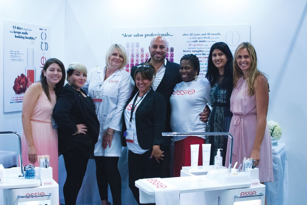 <p>The crew at Essie introduced their new brightening scrub before coming together for a photo. From left to right: NAILS&rsquo; Beth Livesay, Naja Rickette, Kim Tucker, Jolene Brodeur, Gino Trunzo, Jeanita Spikes, Leena Jain, and Mary Baughman.</p>