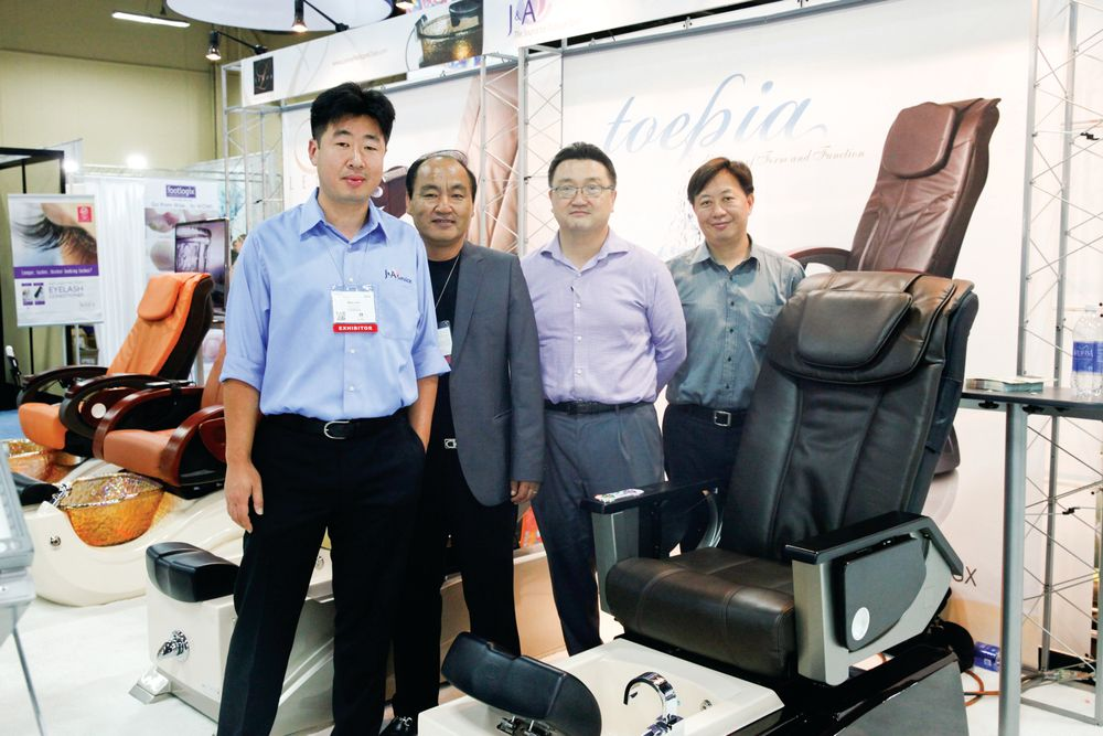 <p>J &amp; A&rsquo;s Mike Ahn, Sorn Lee, Sidney Park, and Danny Jan promoted the Episode pedicure spa chair.</p>
