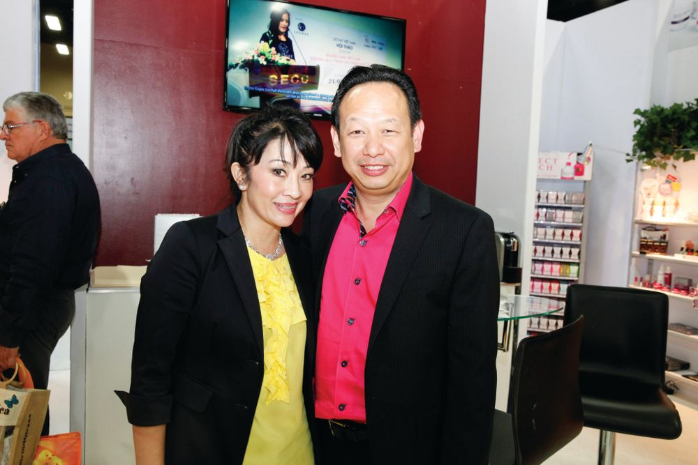 <p>LeChat&rsquo;s Jackie Truong and Newton Luu welcomed guests inside their booth filled with new Perfect Match and Dare to Wear color combinations.</p>