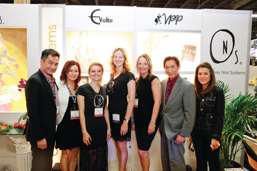 <p>The Odyssey Nail Systems team with Trang Nguyen, Vannie Luu, Gaelle Sintes, Liliya Saxon, Hannah Sokajarvi, Joseph Pham, and Lee Thai celebrated their first booth at Cosmoprof.</p>