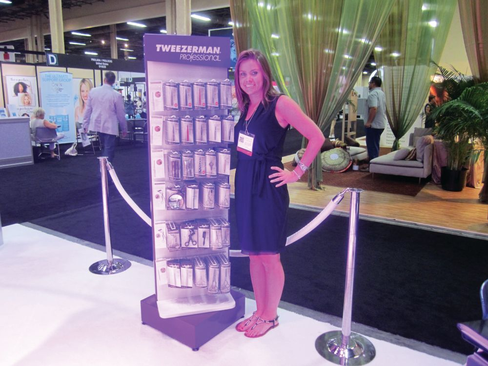 <p>Jennifer Black, Tweezerman junior brand manager, promoted the company&rsquo;s new cuticle pusher and product display.</p>