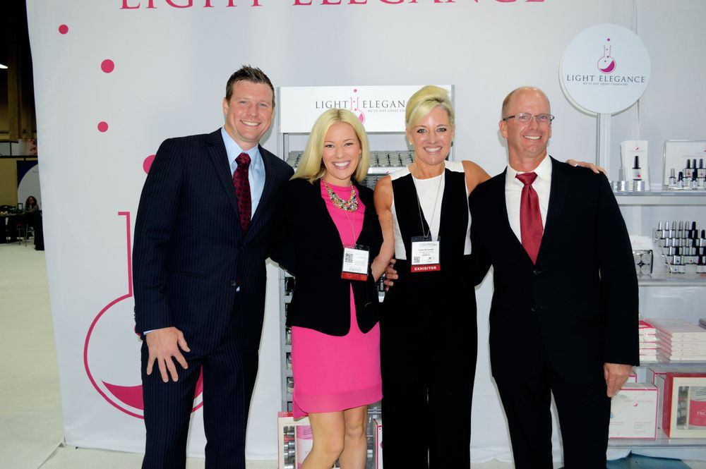 <p>It&rsquo;s a family affair with the Light Elegance team as they revealed details about Light Elegance University, in-person education for nail techs. From left to right: Joseph McLellan, Lexy McLellan, Lezlie McConnell, and Jim McConnell.</p>