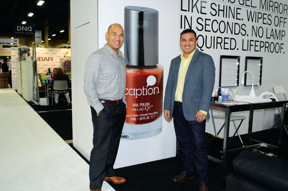 <p>Greg and Habib Salo introduced Caption, a longer-lasting nail polish, at the Young Nails booth.</p>