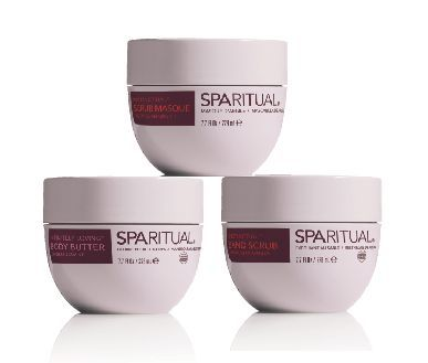 """<p>SpaRitual&rsquo;s trio of soothing body products takes skin to the next level. The Instinctual Clay Masque, made with essential oils and red clay, helps moisturize and detoxify the skin. The Instinctual Sand Scrub eliminates dead skin cells, and the Infinitely Loving Body Butter conditions and hydrates. All products are multifunctioning and can be used for treatments such as facials and manicures as well.&nbsp;&nbsp;</p> <p><a href=""""http://www.sparitual.com/"""">www.sparitual.com/</a></p>"""