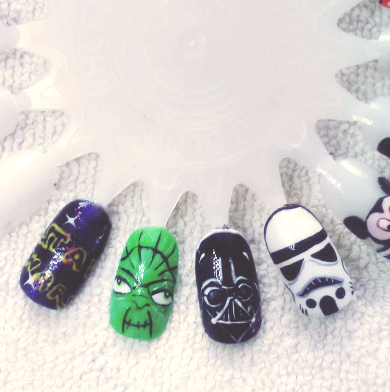 "<p>Yoda, Darth Vader, and Stormtrooper nails by <a href=""https://www.instagram.com/sylwianiem"">Sylwia Niemiec</a>, Oslo, Norway</p>"