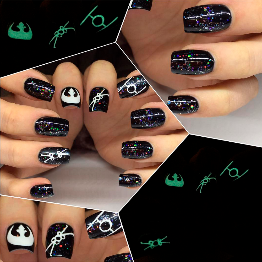 """<p>X-Wing fighter vs. Tie Fighter nail art by Michelle McLendon (<a href=""""https://www.instagram.com/bloomingnailsatx"""">@bloomingnailsatx</a>)</p>"""