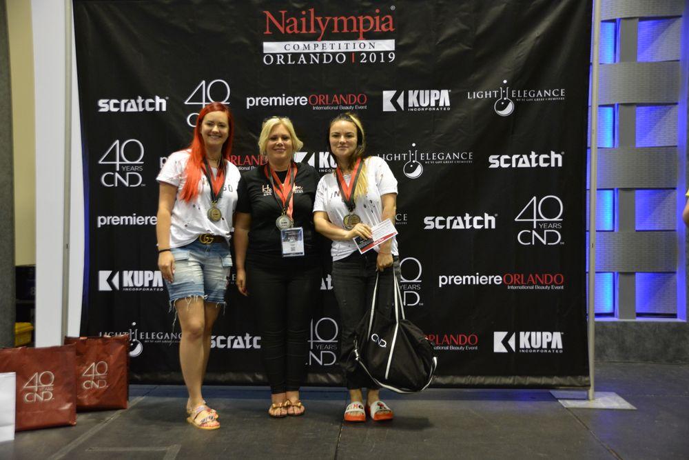 <p>Joy of Nails With Bling! Division 3 winners: Lena Kurach (1st place); Hazel Dixon (2nd place); Joanna Bandurska (3rd place)</p>