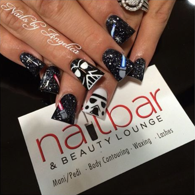 "<p>Stormtrooper nails by <a href=""http://www.instagram.com/aaa_angelica"">Angelica, Nail Bar and Beauty Lounge</a>, Palmdale, Calif.</p>"