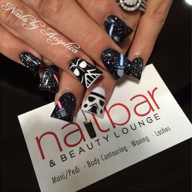 """<p>Stormtrooper nails by <a href=""""http://www.instagram.com/aaa_angelica"""">Angelica, Nail Bar and Beauty Lounge</a>, Palmdale, Calif.</p>"""