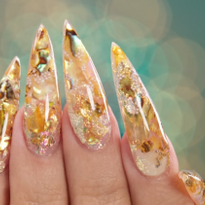 Shell and Chrome Flakes Acrylic Inlay Nail Art