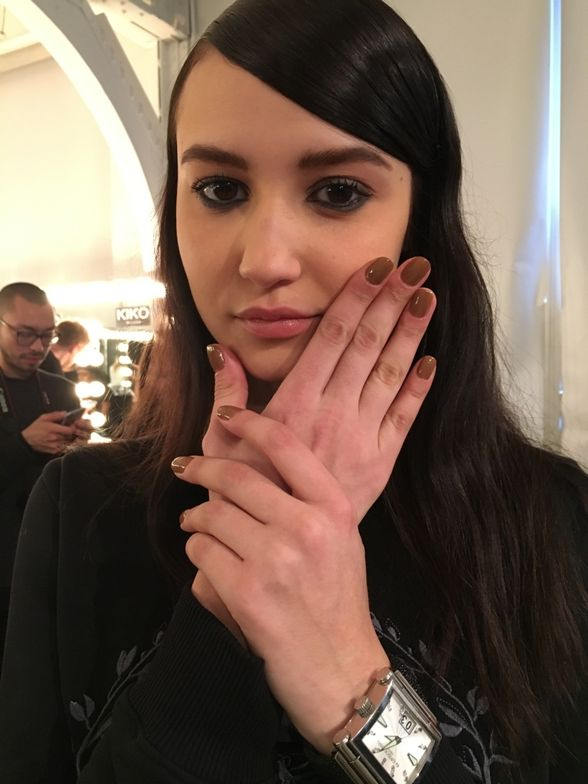 <p>The nails at Karen Walker were a blush tinted nude designed by Jin Soon Choi</p>