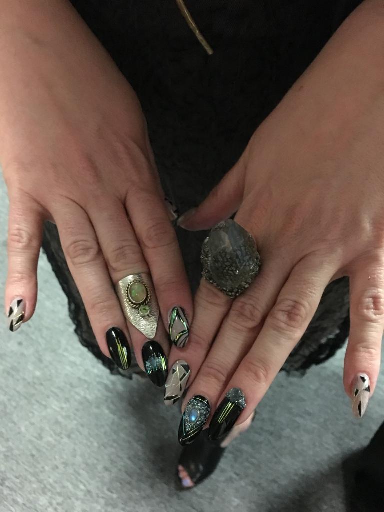 <p>Torie's nails using Athena Rocks</p>