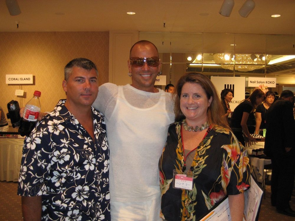<p>Tom with Harmony founder and fellow nail tech Danny Haile and NAILS editor Hannah Lee in Hawaii in 2006 for the Japan Nail Olympics.</p>