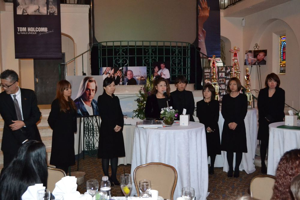 <p>Tom Holcomb traveled extensively to Japan and trained a generation of Japan nailsists, many of whom came to the service to pay their respects.</p>