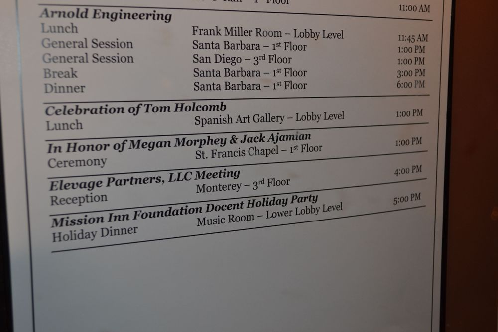 <p>A memorial for Tom Holcomb was held at Riverside (CA) Mission Inn, an historic building that Tom's family said he enjoyed especially during Christmas time.</p>