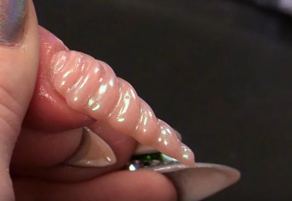 Unicorn Horn Acrylic Nail Design with Chrome