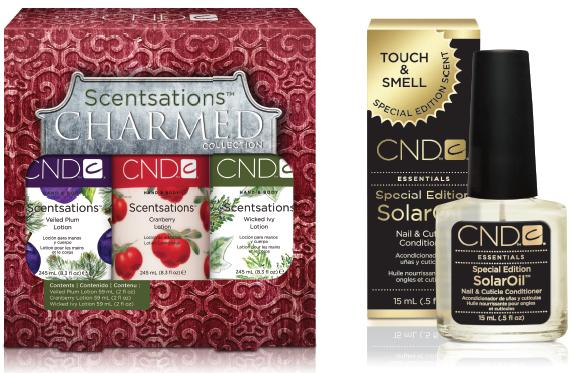 "<p><span>CND&rsquo;s Scentsations Charmed Trio will charm any recipient this&nbsp;</span><span>holiday season with fragrances reminiscent of a winter wonderland.&nbsp;</span><span>These lotions absorb immediately into dry skin to restore essential&nbsp;</span><span>moisture. This limited edition collection includes Veiled Plum,&nbsp;</span><span>Cranberry, and Wicked Ivy. Further nourish and moisturize by using&nbsp;</span><span>special edition SolarOil scented with amber and vanilla to deeply&nbsp;</span><span>penetrate and protect skin and nails.</span><br /><a href=""http://www.cnd.com/"">www.cnd.com</a></p>"