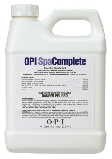 """<p><strong>OPI&rsquo;s</strong><span>&nbsp;EPA-registered SpaComplete is a&nbsp;</span><span>concentrated one-step hospital-grade&nbsp;</span><span>disinfectant cleaner for non-porous salon&nbsp;</span><span>implements, hard surfaces, and pedicure&nbsp;</span><span>spas and tubs. It&rsquo;s effective against a broad&nbsp;</span><span>spectrum of bacteria, viruses, fungi, mold,&nbsp;</span><span>and mildew. SpaComplete also works&nbsp;</span><span>against off ensive odors and leaves a pleasant&nbsp;</span><span>fragrance behind. SpaComplete contains&nbsp;</span><span>a built-in chelator to dissolve hard water&nbsp;</span><span>mineral deposits.</span><br /><a href=""""http://www.opi.com/"""">www.opi.com</a></p>"""