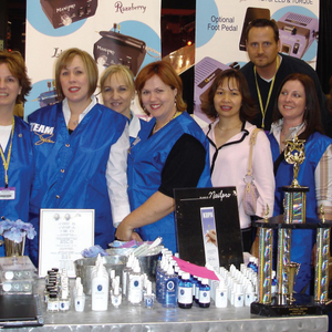 Team Vicki members gather for a group photo at the Chicago Midwest Beauty Show in Februaryof...