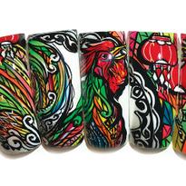 Rooster nail mural by Truc Nguyen, Bellagio Nail Salon, Lebanon, Tenn. (@max_nguyen_artist)