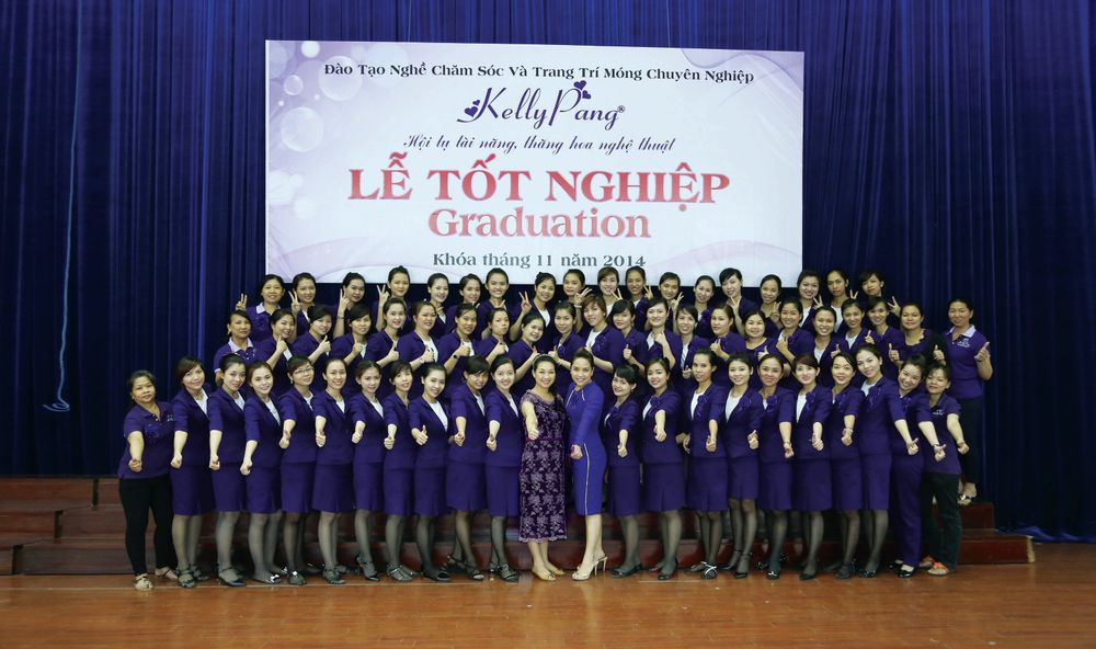 <p>Students smile in this graduating class photo from Kelly Pang Nail. Their next step may be to do nails within Vietnam or to relocate to another country and pursue a career in nails there.</p>