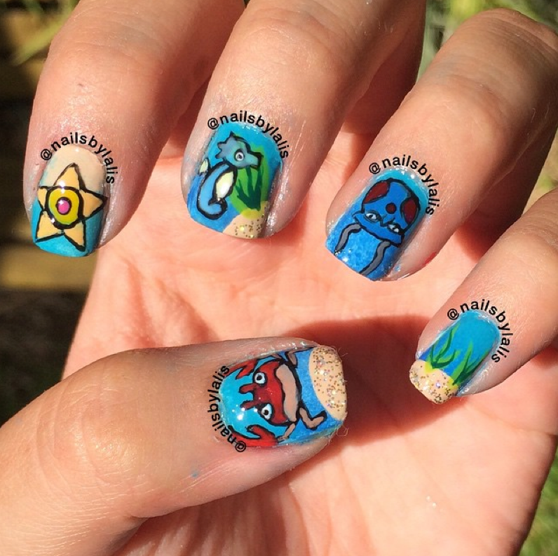 """<p>Water pokemon Staryu, Horsea, Tentacool, and Krabby nails by <a href=""""https://www.instagram.com/nailsbylalis"""">@nailsbylalis</a></p>"""