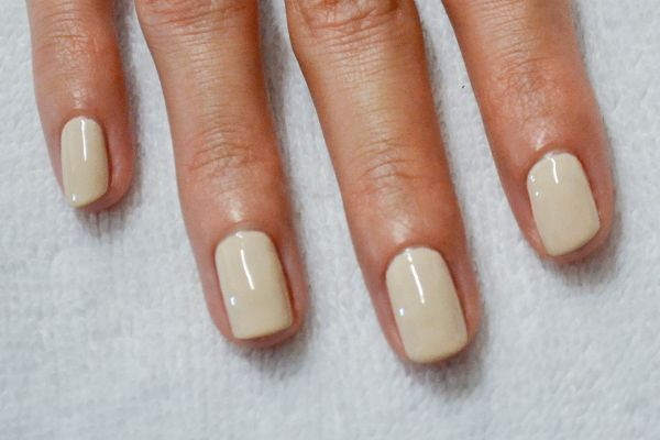 <p>1. Polish each finger with an off white/tan shade of polish. The more contrast the better!</p>