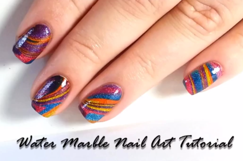 Water Marble Nail Art with Wet Paint Jellies