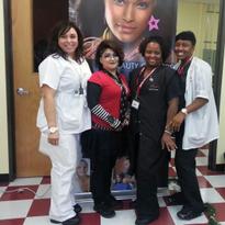 The winning team included students Eva Alegra (makeup), DeAnn Wilson (model), LaDonna Thierrey...