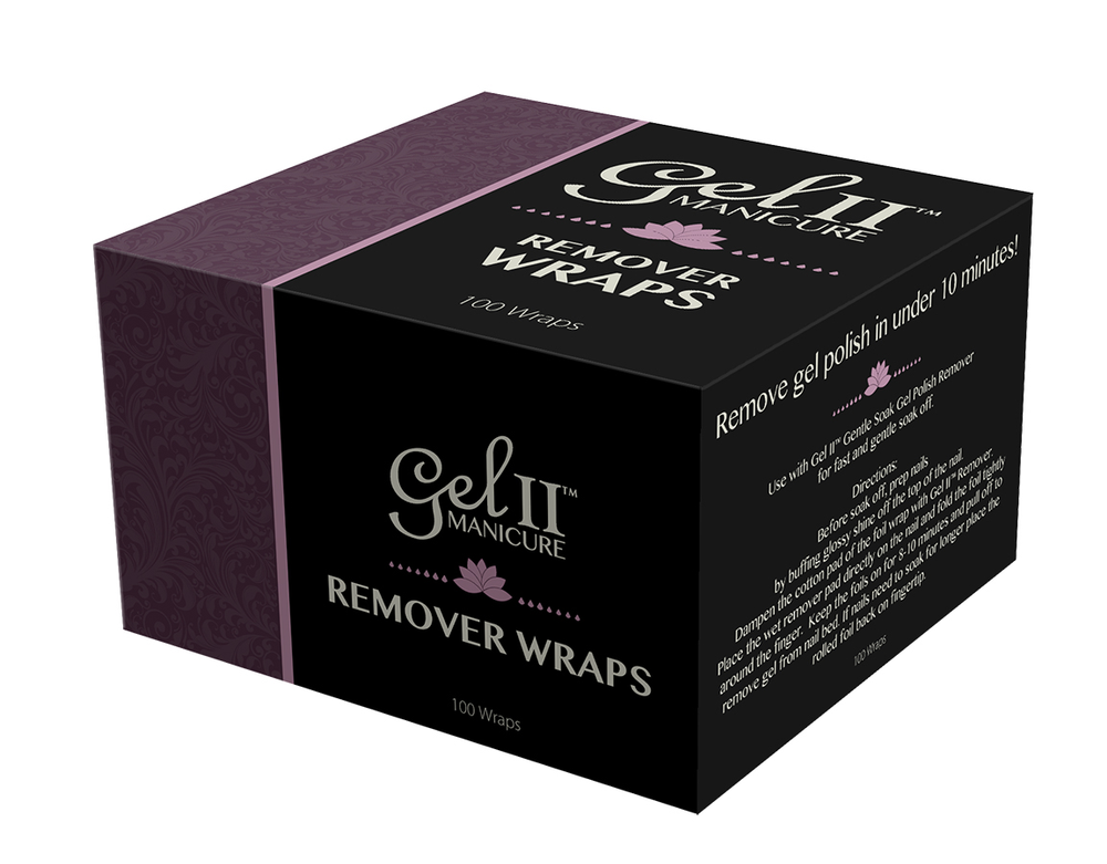 "<p><a href=""http://www.geltwo.com/"">Gel II</a> Remover Wraps are made of lightweight aluminum foil with attached cotton pads to speed up the gel removal process. The wraps remove gel polish in 10 minutes, and fit comfortably on the client's fingers and toes.</p>"