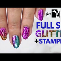 Glitter Pressed Nail Stamping Full Set Tutorial at Young Nails HQ