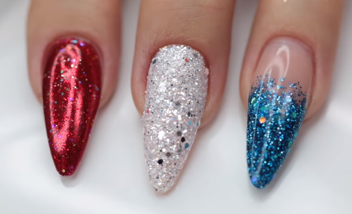 3 Easy Holiday Glitter Nail Designs From Young Nails