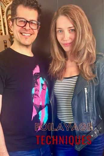 Marco Pelusi and his foilayage client pause for a salon selfie. 