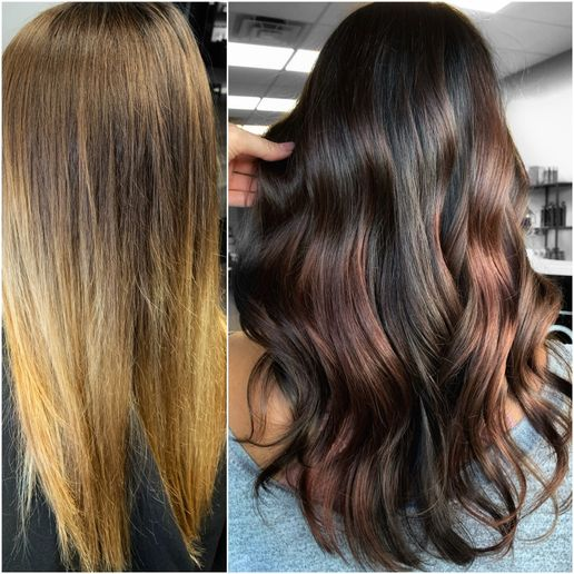 Hair color makeover by Ashlie Marmo.