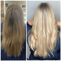 """Jo Blackwell uses her """"Floating Foils"""" technique to create dimensional balayage results."""