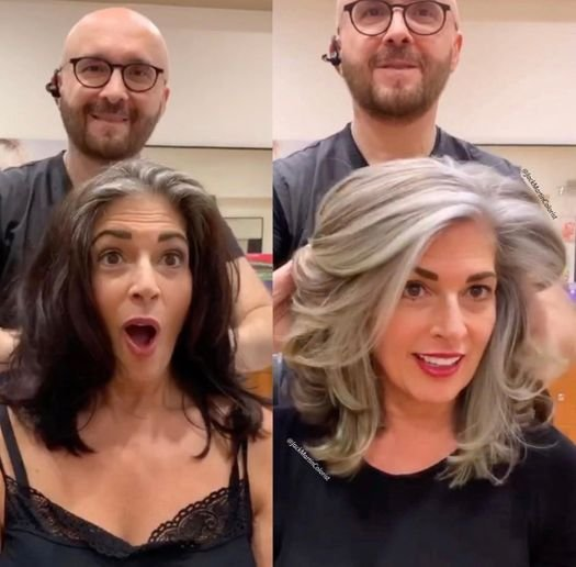 @jackmartincolorist strikes again. In this transformation, he helps his client embrace her natural gray hair to stop coloring it, while also removing years of damage in a way that maintained her length.
