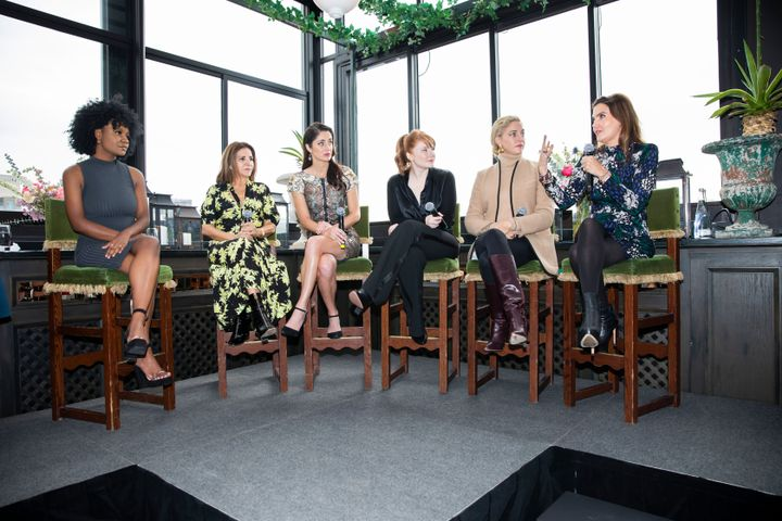 HALO panel Marjai; Moroccanoil co-founder, Carmen Tal; HALO founder Rebecca Welsh; actor Bryce Dallas Howard and Veronica Beard, co-founders Veronica M. Beard and Veronica S. Beard