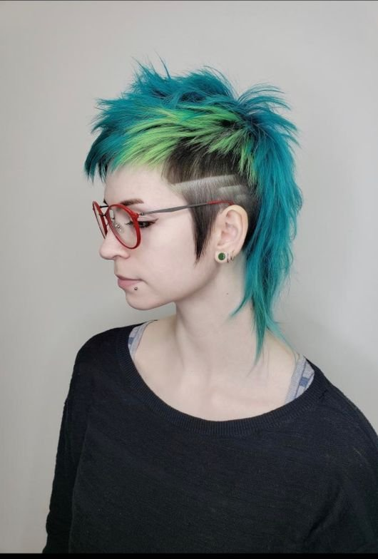 <p>Mullet with great graphic detailing and pop-art color</p>