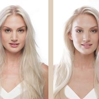This before and after shows the results of the new ABSOLUE KÉRATINE repair regimen for fine to...