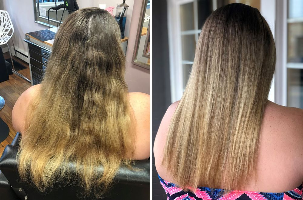 <p>Mineral buildup from hard water can turn gorgeous hair color into a nightmare. But as this before and after from <strong>Malibu C</strong> Artistic Team Member Katherine Maddox shows, there is a simple solution.</p>