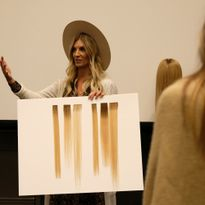 Danielle Keasling shows Great Lengths GL Tapes tape-in extensions off during HAIR+ Summit 2019.
