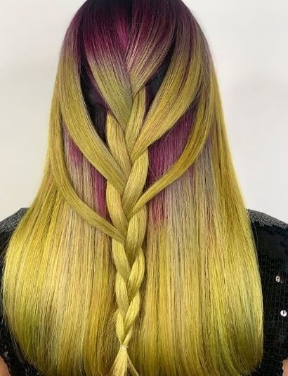 <p>This color melt from Gerilyn Ghaisarzadeh was created using Goldwell Elumen Play in Hot Pink and Bashful Rose melting into Yellow and Clear.</p>