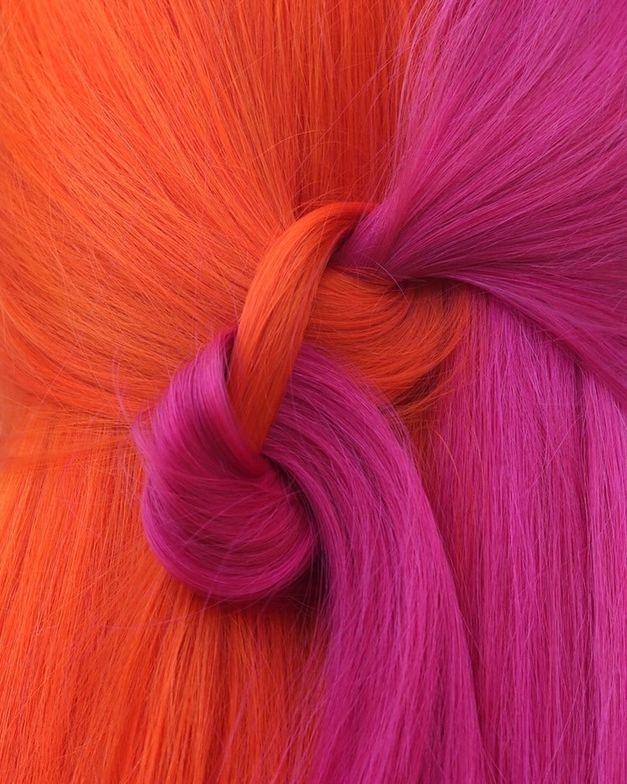 <p>Hailey Mahone used Goldwell Elumen Play in Juicy Orange and Hot Pink.</p>
