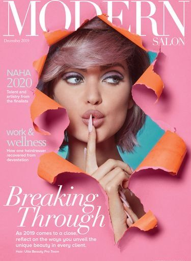The cover of MODERN SALON, December 2019. Nail art by Armani Je'ton, hair by the Ulta Beauty Pro Team, photo by Roberto Ligresti, make up by David Maderich.