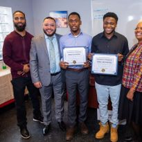 Left to Right: Mentor Terrance Henigan, His & Hers Barber School Owner, José Gardea, Sebastian...
