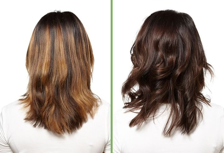 Before and after. This brass-busting tonal correction was achieved with Biolage Color, a new plant-based, natural formula.  -