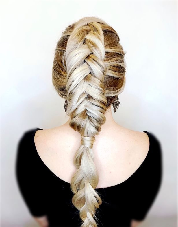 <p><strong>Wiley </strong>says Dutch braids are trending. This Dutch fishtail flatters the wearer because it draws the eye up. <strong>TIP:</strong> Pull out pieces of the braid so it&rsquo;s not too tight against the head.&nbsp; Hair: @jamiewileyhair</p>