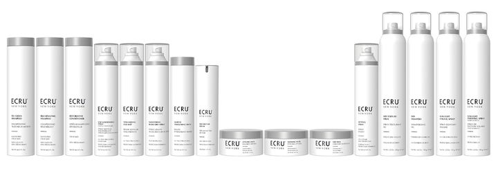 The new ECRU New York packaging keeps the top half of each bottle pure white, so the products are like rays of light on the shelf.
