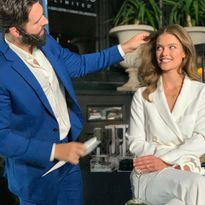 Cash Lawless demos the Leandro Limited Collection on Nina Agdal