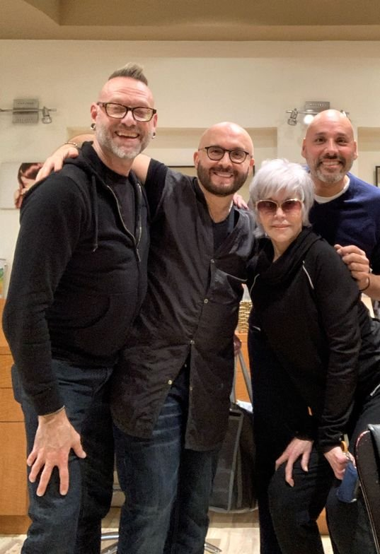 <p>Fonda&#39;s stylist Jonathan Hanousek and makeup artist David De Leon pose with Jack Martin and Jane Fonda on the day of her transformation.</p>